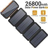 Sendowtek Solar Powerbank 26800mAh mit 5 Solarpenals, 7.5W Solar Ladegerät mit 60 LED Lampen/ 2 Taschenlampen, 2 USB A Ausgänge/ 1USB C Ausgänge/PD 18W Schnellladung, Extrener Akku für Camping Ferien
