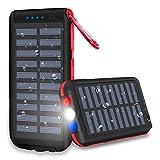 XINSL Solar Powerbank 25000mAh Solar Ladegerät [2020 Neuestes Solarladegerät] Wasserabweisende tragbares Ladegerät mit 3 Ausgänge LED Taschenlampe & SOS-Warnlampe für Handy Tablet