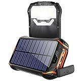 Soluser Solar Powerbank 26800mAh wasserdichte Solar Ladegerät mit 2 Eingangsports und 3 Ausgängen, Solarenergiebank Externe Batterie Solar Power Bank für Smartphones, Handys, Outdoor Aktivitäten