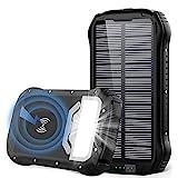 Powerbank Solar 26800mAh QI Wireless Solar Ladegerät mit 3 Eingangswege und 4 Geräte Ausgängen Max 5V/3.1A Solar Power Bank Externer Akku mit 18 LED Taschenlampe für Handys Outdoor Aktivitäten